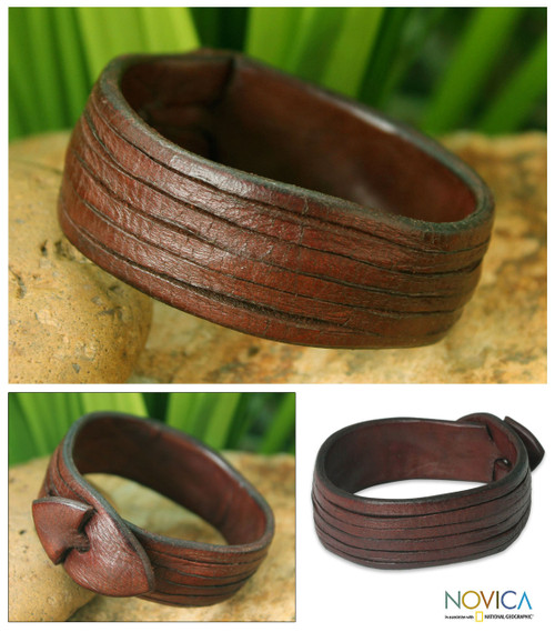 Brown Leather Wristband Bracelet 'Many Rivers'
