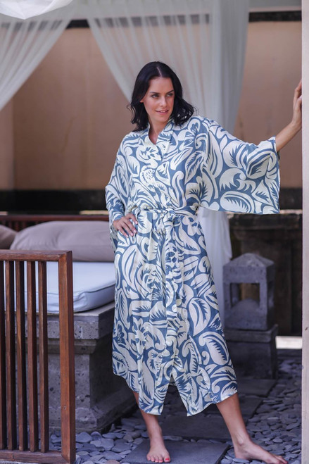 Women's Floral Silk Robe with Blue Tropical Flowers  'Blue Hibiscus Haven'