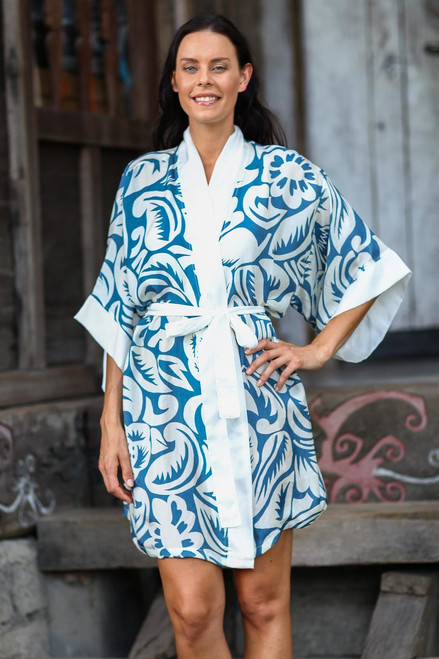 Blue Silk Screen Print Tropical Hibiscus Women's Robe 'Floral Kimono'