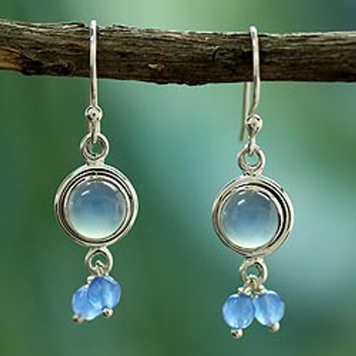 Unique Sterling Silver and Chalcedony Earrings 'Sky Dancer'