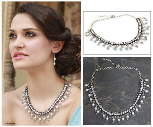 Pearl and Blue Topaz Choker Necklace from India 'Dancing Queen'