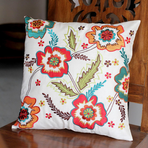 Hand Made Floral Applique Cushion Cover 'Floral Celebration'