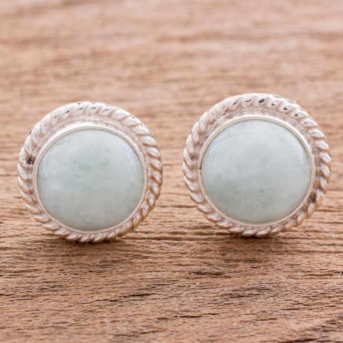 Elegant Jade Button Earrings in Sterling Silver 'Life'