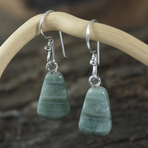 Hand Crafted Jade Dangle Earrings 'Whirlwind'