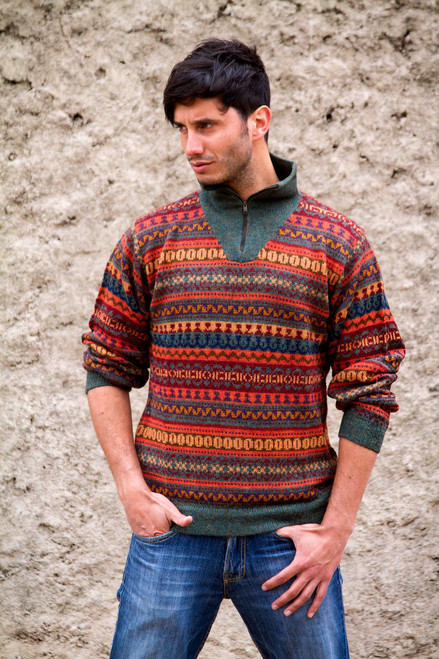 Men's Fair Trade Alpaca Art Knit Pullover Sweater 'Mountain Sunset'