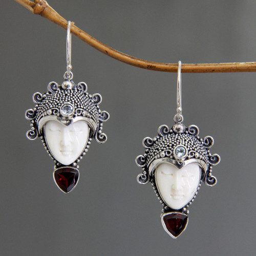 Hand Crafted Bone and Garnet Earrings 'Princess Aura'