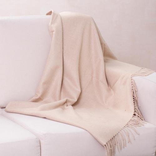 Unique Alpaca Wool Solid Throw Blanket from Peru 'Cozy Beige'