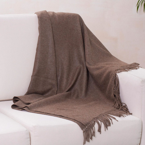 100% alpaca throw 'Cozy Brown'