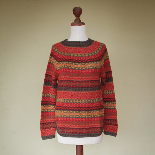 Geometric Alpaca Wool Art Knit Pullover Sweater 'Scarlet Medley'