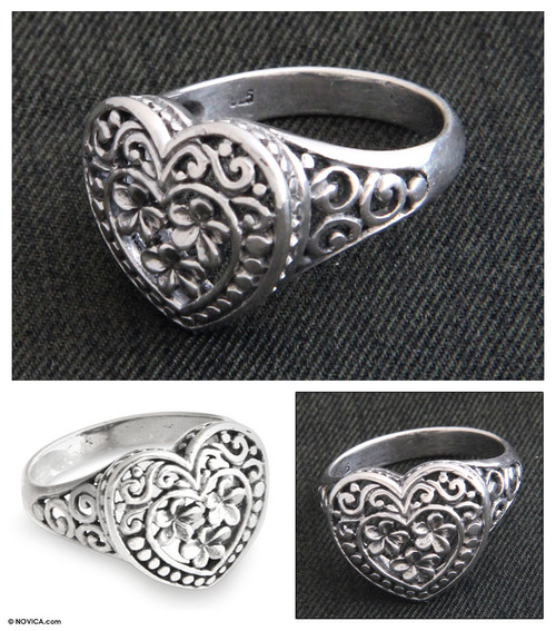 Sterling Silver Floral Ring 'Loyal Heart'