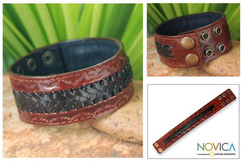 Men's Handcrafted Leather Wristband Bracelet 'Chiang Rai Trek'