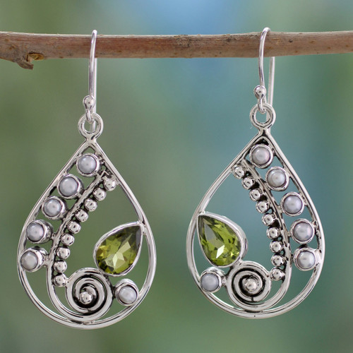 Pearl and Peridot Earrings Sterling Silver Jewelry  'Inspired Paisley'