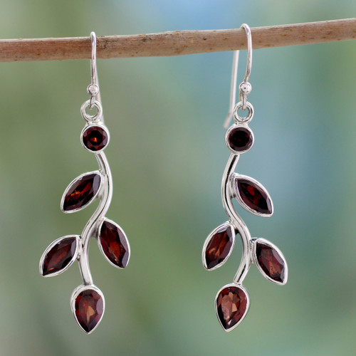 Garnet and Sterling Silver Earrings Indian Jewelry 'Scarlet Bouquet'