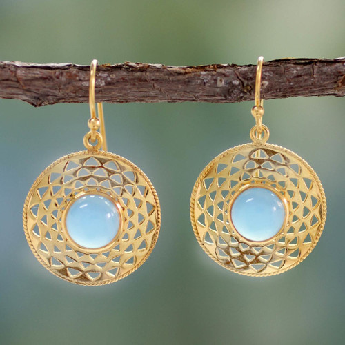 Gold Vermeil Blue Chalcedony Earrings 'Jaipur Suns'