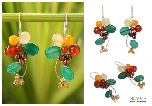 Carnelian and Citrine Dangle Earrings 'Radiant Bouquet'
