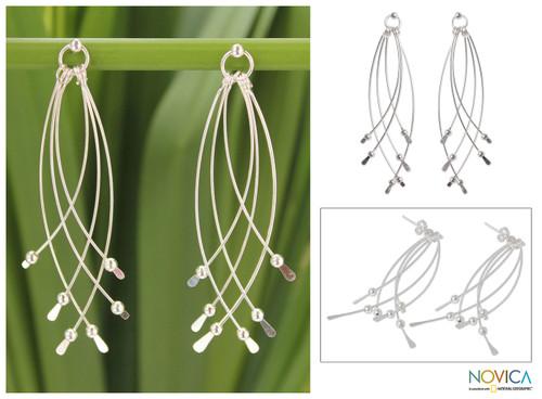 Handcrafted Sterling Silver Dangle Earrings 'Early Rain'