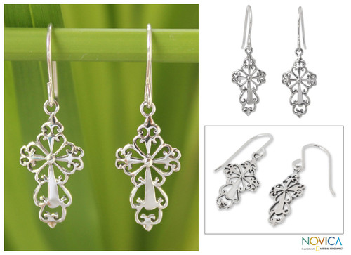 Sterling Silver Religious Dangle Earrings 'Ornate Cross'