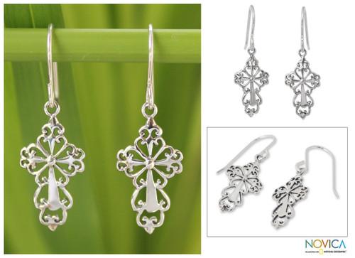 Sterling Silver Religious Dangle Earrings 'Ornate Cross'