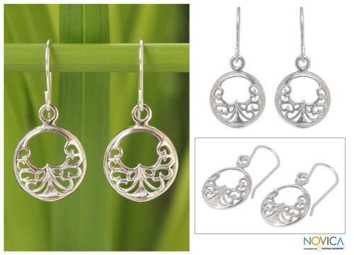 Sterling Silver Dangle Earrings from Thailand 'Precious Lace'