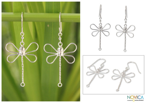 Sterling Silver Dangle Earrings 'Dragonfly Beauty'