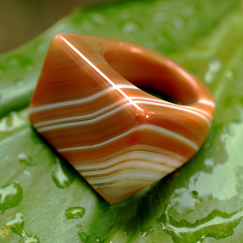 Handcrafted Good Fortune Rio Agate Cocktail Ring 'Caramel Sunset'