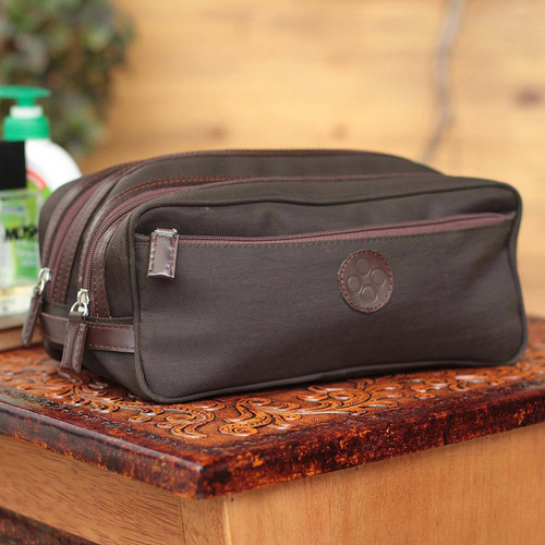 Fair Trade Men's Travel Toiletry Bag from Peru 'Andean Brown'