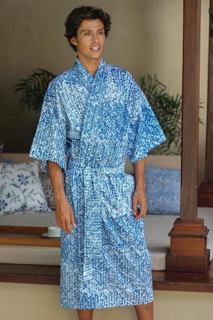 Men's Unique Cotton Robe 'Blue Baskets'