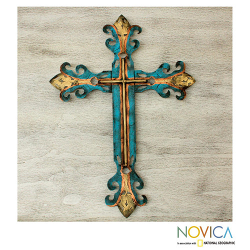 Handcrafted Blue Religious Cross 'Royal Cross'