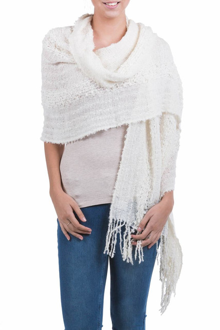 Artisan Crafted Alpaca Wool Patterned Shawl 'Versatile Ivory'
