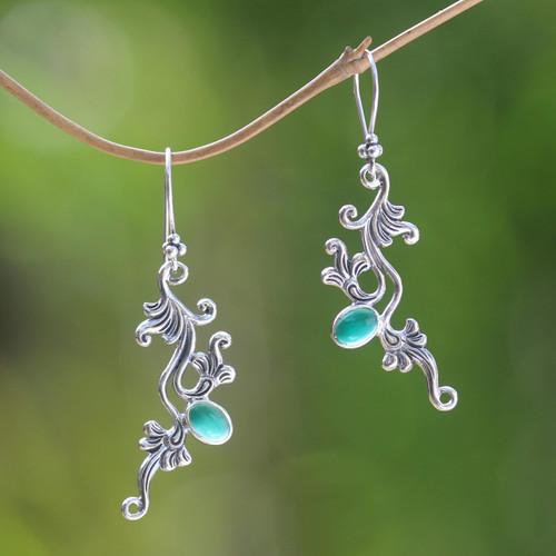 Sterling silver floral earrings 'Denpasar Dew'
