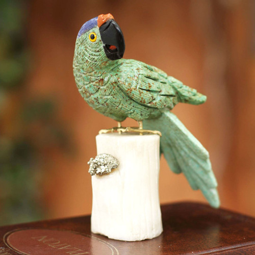 Handcrafted Gemstone Bird Sculpture from Peru 'Aqua Macaw'
