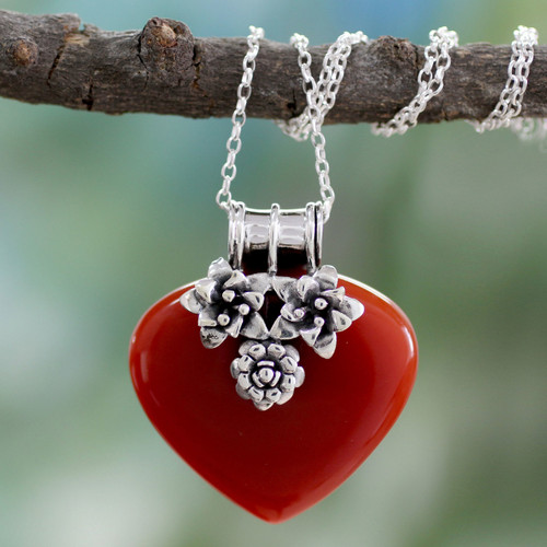 Heart Shaped Sterling Silver and Carnelian Necklace 'Love Declared'