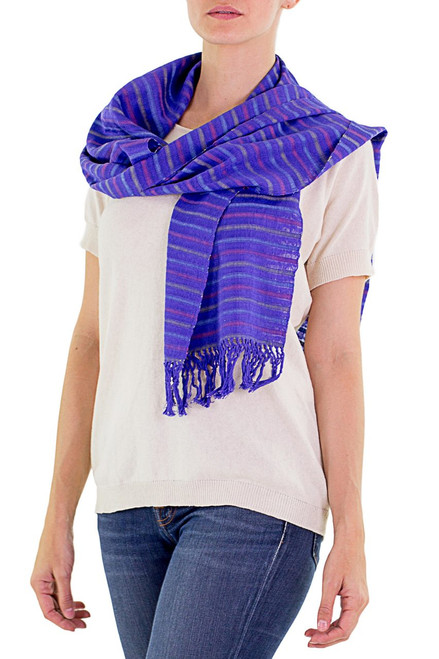 Guatemala Artisan Crafted Cotton Scarf 'Vineyard Fantasy'