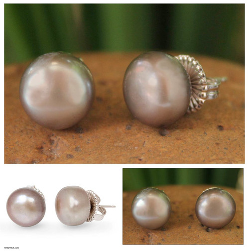 Handcrafted Pearl Button Earrings 'Twilight Serenade'