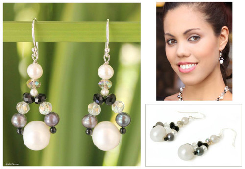 Hand Crafted Pearl Dangle Earrings 'A Spark of Romance'