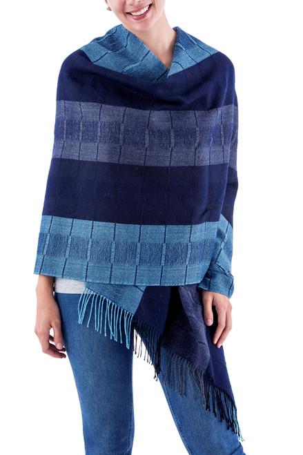 Alpaca Wool Patterned Shawl 'Huancayo Blues'