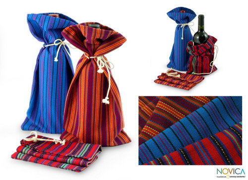 Colorful Handwoven Cotton Wine Bottle Bags (Set of 3) 'Cheers'