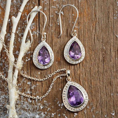Amethyst and Sterling Silver Earrings from India Jewelry  'Mughal Mystique'