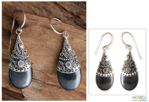 Hematite and Rainbow Moonstone Silver Earrings 'Bali Mystique'
