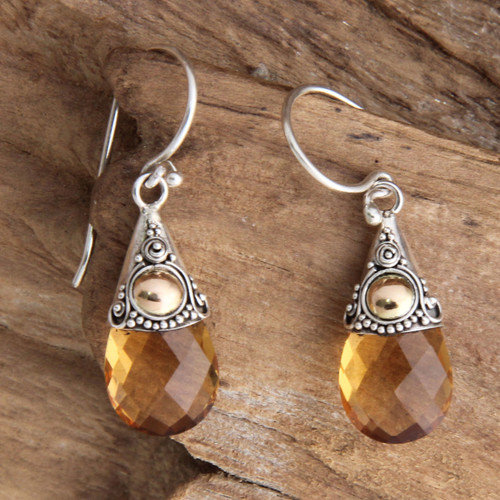 Hand Crafted Citrine and Sterling Silver Earrings 'Sunny Glow'