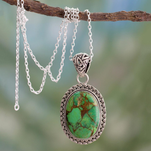 Composite Turquoise Jewelry in a Sterling Silver Necklace 'Mythic Sky'