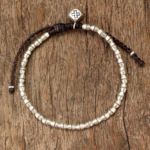Handmade Silver Bracelet 'Hill Tribe Cross'