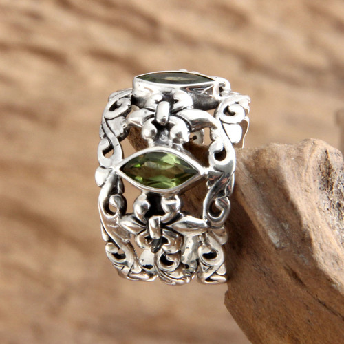 Sterling Silver and Peridot Ring from Indonesia 'Splendor in Green'
