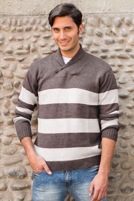 Men's Alpaca Wool Pullover Sweater 'Cortijo Man in Beige'