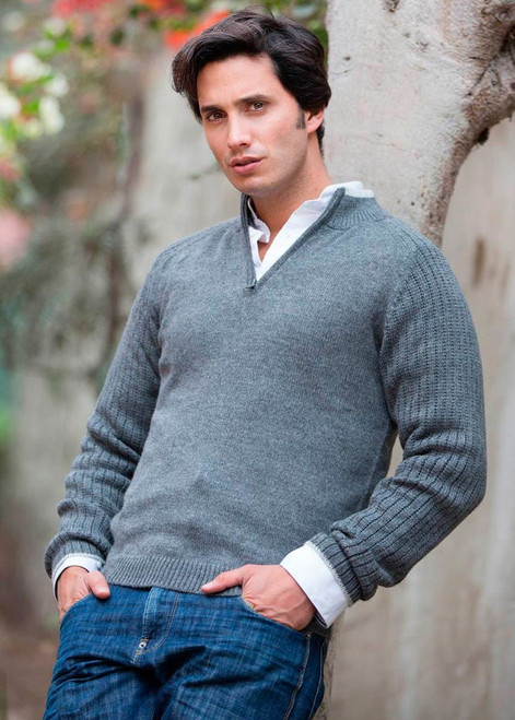Peruvian Men's Alpaca Blend Sweater 'Gray Fog Secret'
