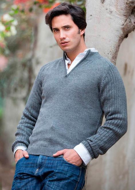Peruvian Men's Alpaca Blend Sweater 'Gray Fog Secret'