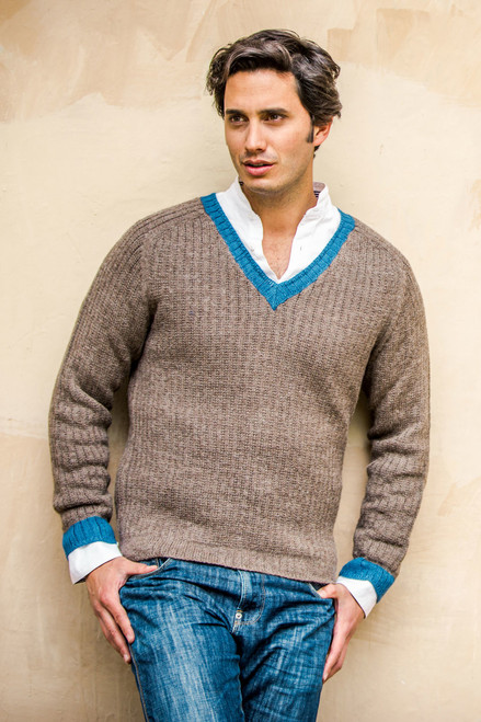 Men's Alpaca Wool Blend Class V-Neck Sweater 'Informal Brown'