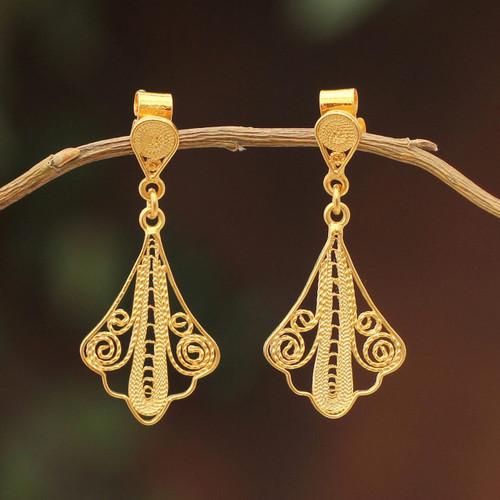21K Gold Plated Filigree Dangle Earrings from Peru 'Peruvian Lace'