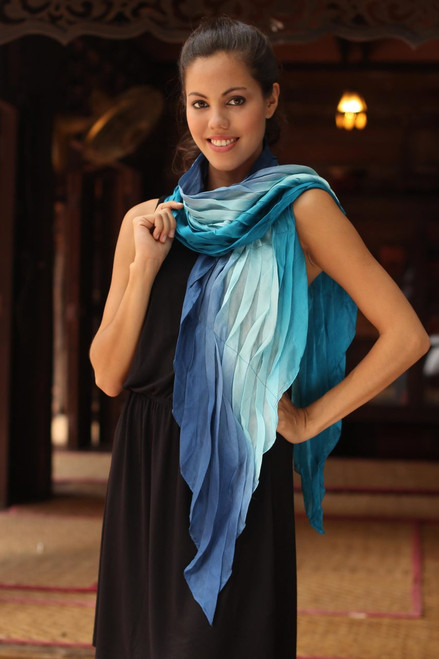 Hand Made Ombre Silk Scarf 'Blue Magnificence'
