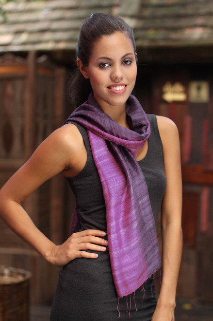 Silk Scarf from Thailand 'Bold Orchid'